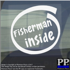 1 x Fisherman Inside-Window,Car,Van,Sticker,Sign,Vehicle,Carp,Sea,Pike,Catfish